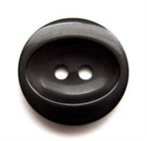 B11736 19mm Black Glossy Oval Centre 2 Hole Button - Ribbonmoon