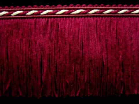 FT1858 75mm Pale Burgundy Cut Fringe with Cream in the Cord Braid - Ribbonmoon