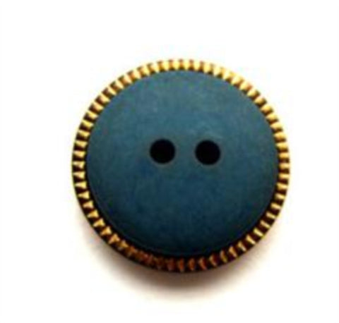 B13964 18mm Malibu Blue Matt 2 Hole Button, Gilded Gold Poly Rim - Ribbonmoon