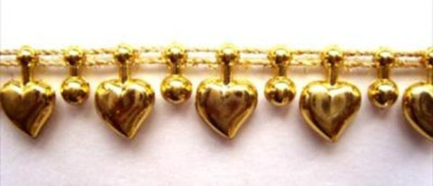 PT55 13mm Metallic Gold Love Heart Strung Pearl, Bead String Trimming - Ribbonmoon