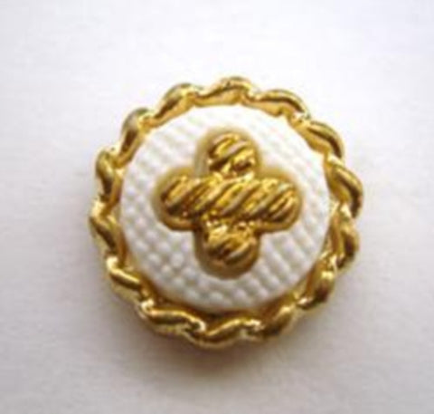 B14878 17mm White and Gilded Gold Poly Shank Button - Ribbonmoon