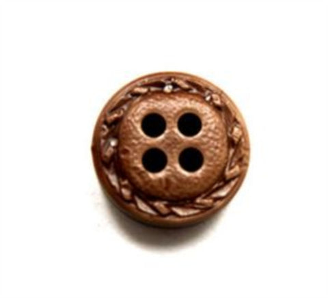 B16128 14mm Pale Brown Leather Effect 4 Hole Button - Ribbonmoon