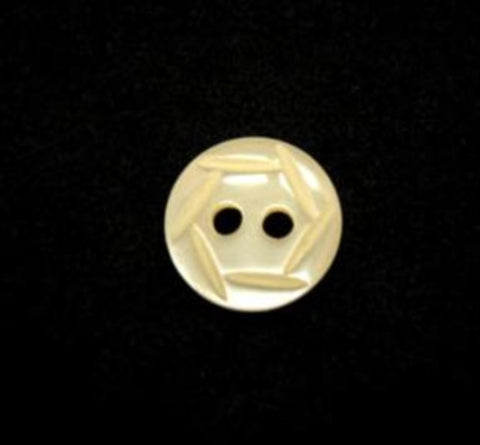 B16527 11mm Cream Pearlised 2 Hole Button wiht an Engraved Pattern - Ribbonmoon