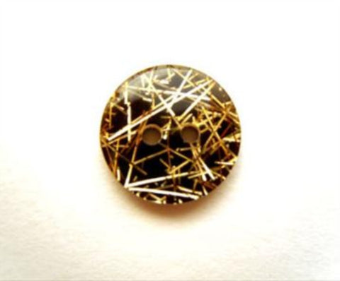 B13927 11mm Black and Gold under a Clear Surface 2 Hole Button - Ribbonmoon