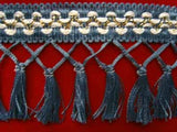 FT496 95mm Blue,Pearl and Metallic Gold Tassel Fringe on a Decorated Braid - Ribbonmoon