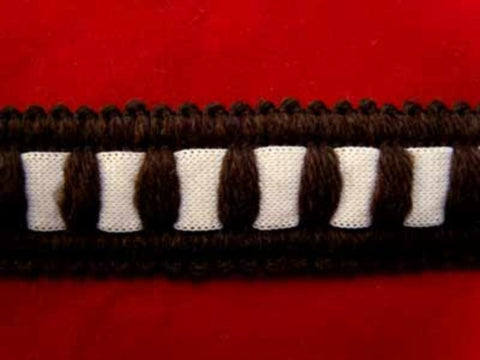FT1539 25mm Dark Brown and White Braid Trimming - Ribbonmoon
