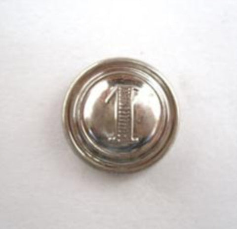 B14509 15mm Silver Domed Gilded Poly Shank Button. Number One Design - Ribbonmoon