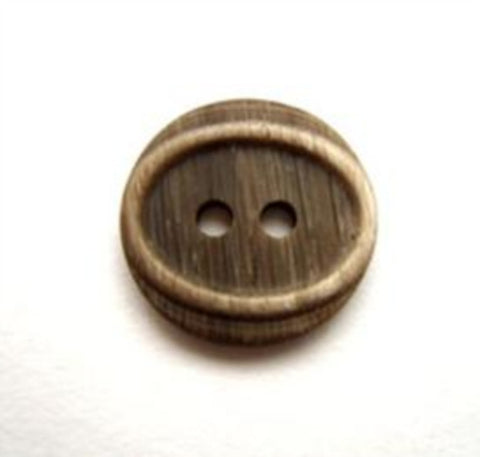 B11610 15mm Frosted Dark Brown Matt Oval Centre 2 Hole Button - Ribbonmoon