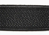 PETER04 32mm Black Petersham Non Roll Elastic. - Ribbonmoon