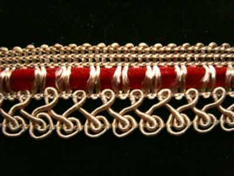 FT1204 23mm Beige Corded Braid with a Woven Russet Velvet Ribbon - Ribbonmoon