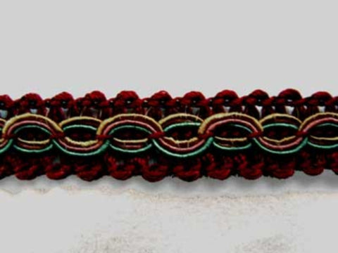 FT1001 13mm Burgundy, Honey, Petrol and Pink Gimp Braid - Ribbonmoon