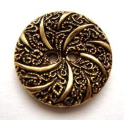 B13956 20mm Gilded Antique Brass Poly Textured 2 Hole Button - Ribbonmoon