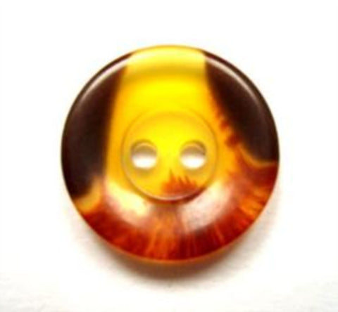 B15348 18mm Amber and Brown Semi Translucent 2 Hole Button - Ribbonmoon