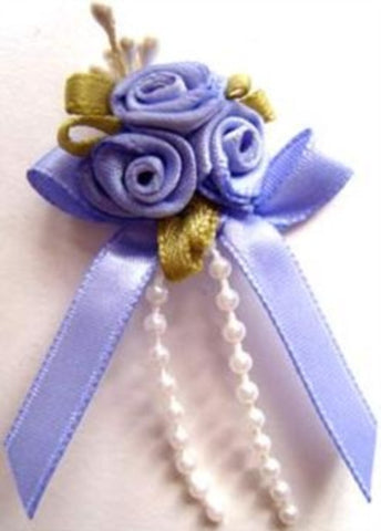 RB393 Lupin Satin Rose Bow Buds with Ribbon and Pearl Bead Trim