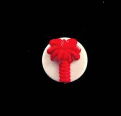 B14128 12mm Matt Red Palm Tree Design Novelty Shank Button - Ribbonmoon