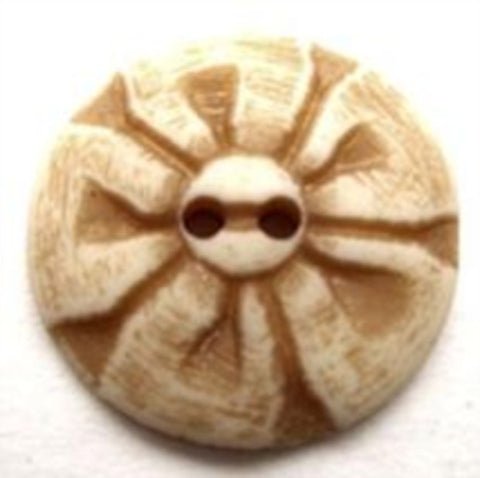 B12771 21mm Natural Cream and Brown Matt 2 Hole Button - Ribbonmoon