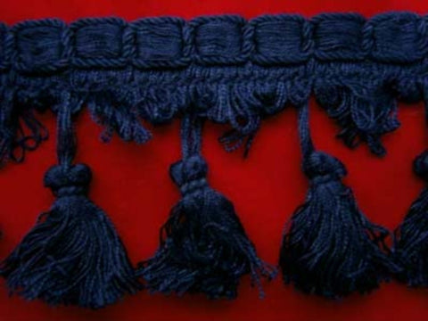 FT715 82mm Rich Navy Tassel Fringe on a Decorated Braid - Ribbonmoon