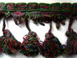 FT579 82mm Ink Navy,Green and Wine Tassel Fringe on a Decorated Braid - Ribbonmoon