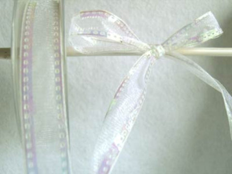 R5309 17mm White Sheer Ribbon with Iridescent Wired Borders - Ribbonmoon