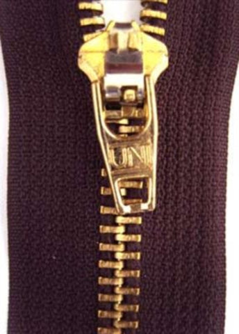Z2938 15cm Congo Brown No.5 Closed End Zip with Brass Teeth - Ribbonmoon