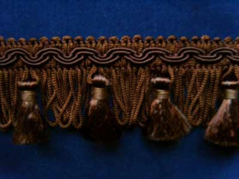 FT563 4cm Dark Browns Tassel Fringe on a Decorated Braid - Ribbonmoon