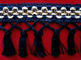 FT526 85mm Navys, Pearl and Gold Tassel Fringe on a Decorated Braid - Ribbonmoon