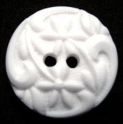 B15484 20mm White Textured 2 Hole Button - Ribbonmoon