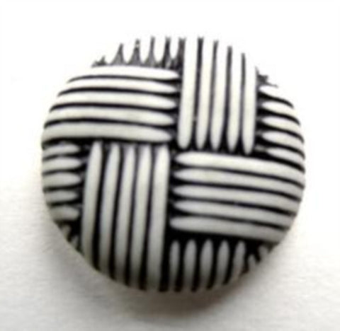 B13001L 21mm White and Black Bone Sheen Textured Shank Button