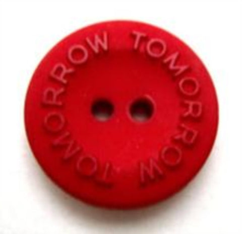 "B10201 20mm Post Box Red Matt 2 Hole Button ""TOMORROW"" Lettering - Ribbonmoon"