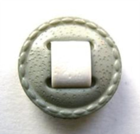 B6051 20mm Grey and White Letaher Effect Shank Button - Ribbonmoon