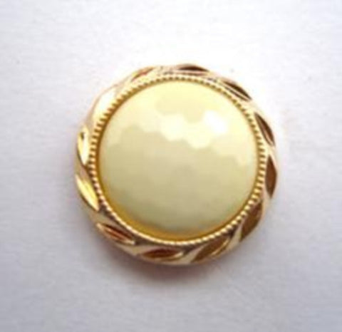 B14579 17mm Pale Jasmine Honeycomb Shank Button, Gilded Gold Poly Rim - Ribbonmoon