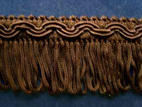 FT485 32mm Chocolate Brown Looped Fringe on a Decorated Braid - Ribbonmoon