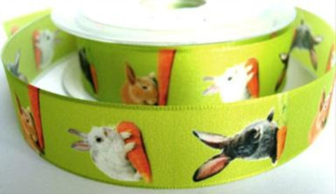 R7322 25mm Easter Bunny Rabbit Design Ribbon - Ribbonmoon