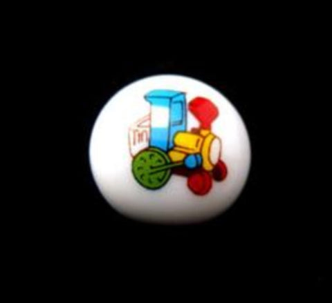 B15107 15mm Toy Train Design Childrens Shank Picture Button - Ribbonmoon