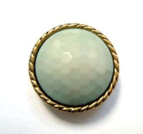 B14990 18mm Pale Green Honeycomb Shank Button, Gilded Gold Poly Rim - Ribbonmoon