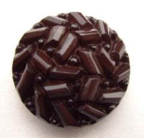 B14793 20mm Hot Chocolate Domed and Textured Shank Button - Ribbonmoon