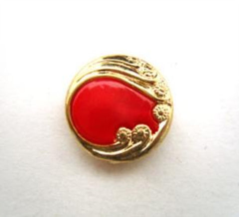 B14442 15mm Red and Gilded Gold Poly Shank Button - Ribbonmoon