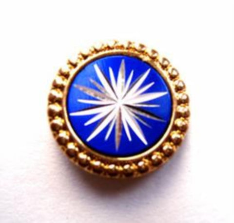 B17844 17mm Gold, Royal Blue and Silver Metal Shank Button - Ribbonmoon