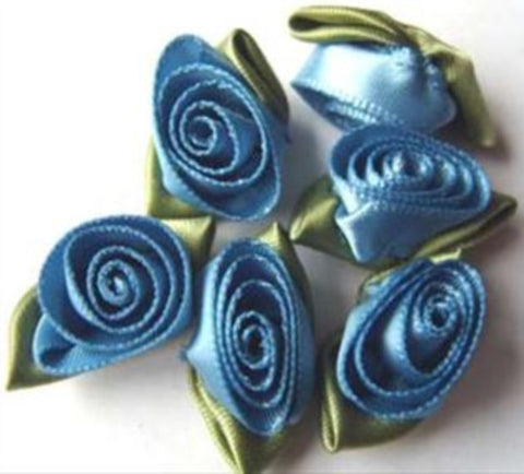 RB284 32mm Dusky Blue Satin Ribbon Rose - Ribbonmoon