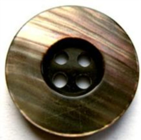 B17489 23mm Mahogany Brown Centre with Iridescent Rim 4 Hole Button - Ribbonmoon