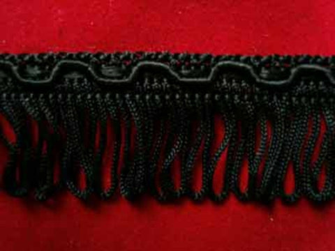 FT1722 24mm Black Looped Fringe on a Decorated Braid - Ribbonmoon