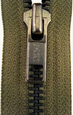 Z3936 60cm Army Green Brass Teeth No.5 Open End Zip - Ribbonmoon