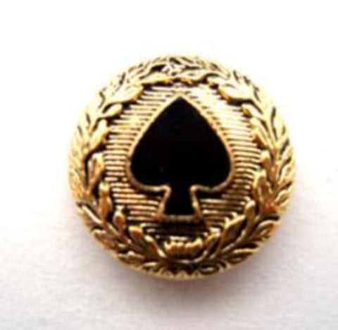 B14883 18mm Black Ace of Spades, Gilded Gold Poly Shank Button - Ribbonmoon