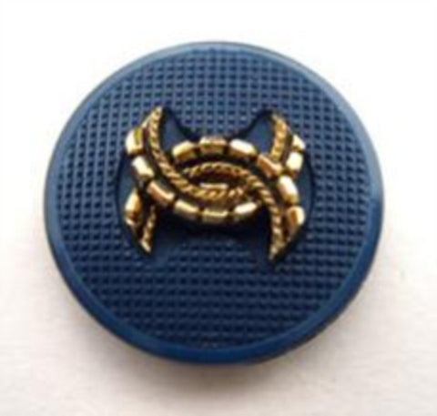 B14632 20mm Pale Navy and Gilded Gold Poly Shank Button - Ribbonmoon