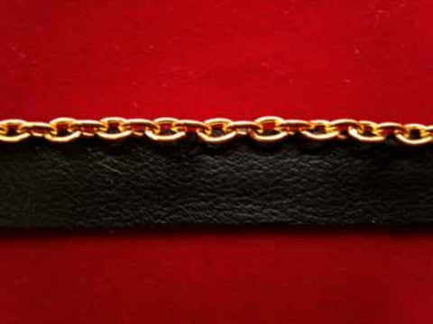 FT991C 3mm Gold Metal Chain on a Black Faux Leather Flange - Ribbonmoon