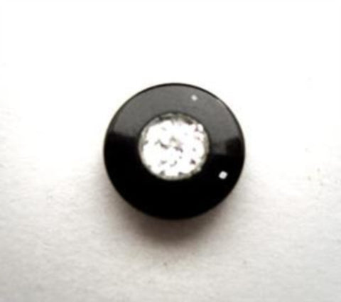 B16977 12mm Glittery Diamante Effect Shank Button with Gloss Black Rim