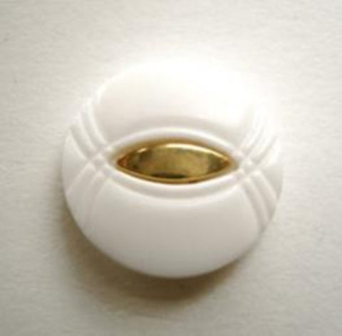 B12940 18mm White Shank Button with a Gilded Gold Centre - Ribbonmoon