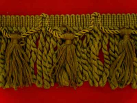 FT1551 10cm Deep Moss Greens Bullion Fringe with Tassels - Ribbonmoon