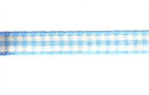RSTICK03 10mm Sky Blue Gingham Self Adhesive Backed 3 Metre Roll Ribbon - Ribbonmoon