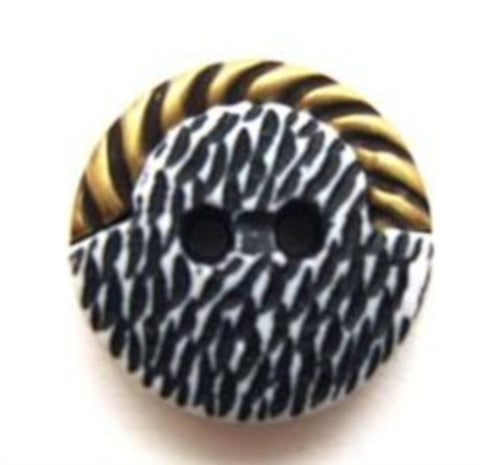 B6506 18mm Black, White and Gilded Brass Poly 2 Hole Button - Ribbonmoon
